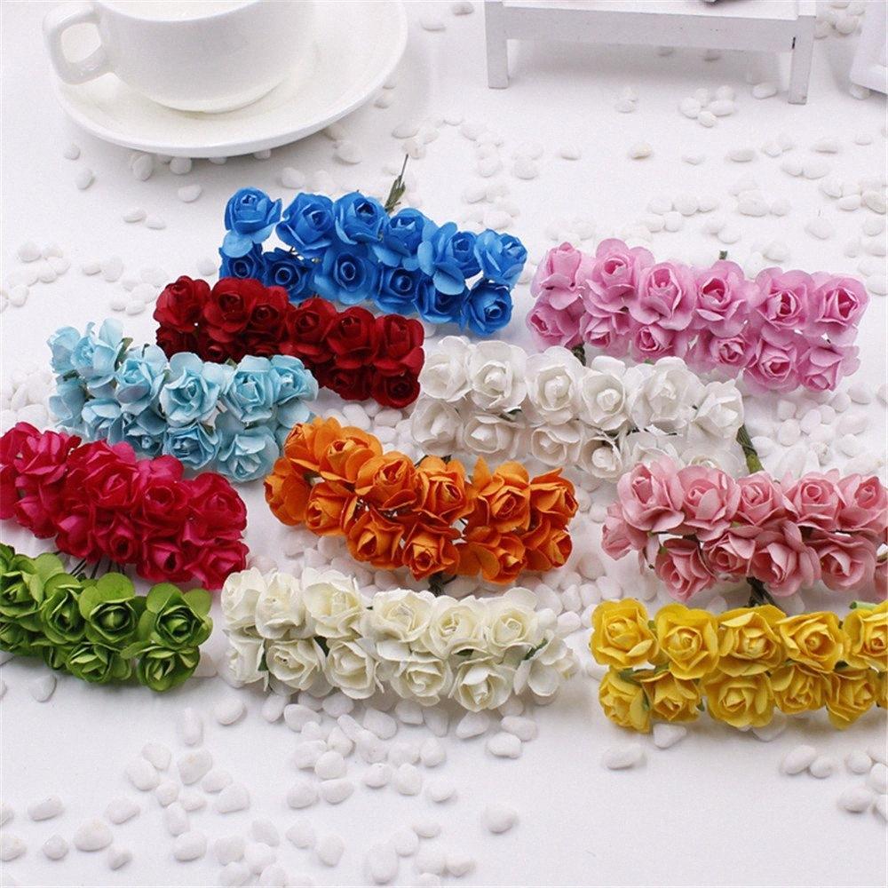 144PCS Один лот 1см Глава Многоцветной Искусственные бумаги Цветы роза используется для декоративных подарков ZvL4 #
