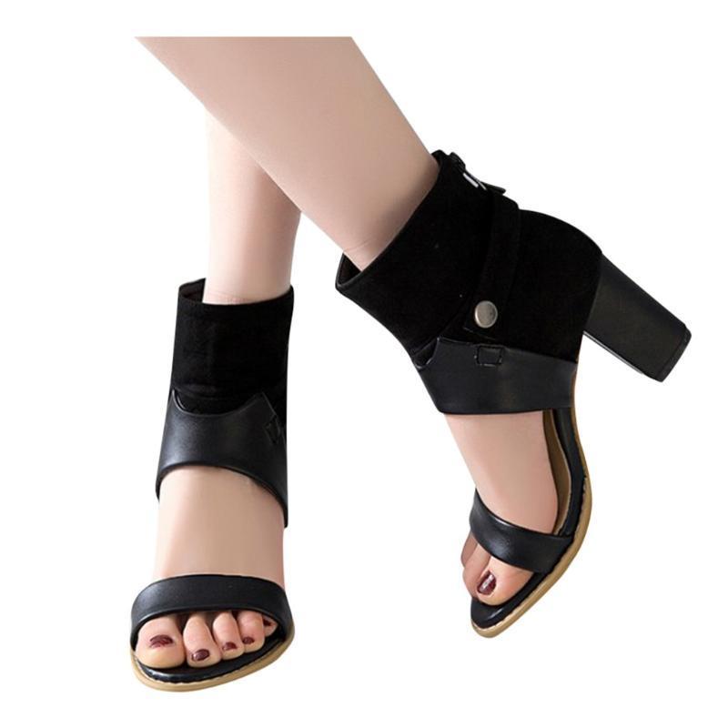 Sagace Mulheres Sandálias 2020 estilo retro verão oco de alta calcanhar Belt Buckle Sandals britânica Roman moda elegante Fêmeas Shoes