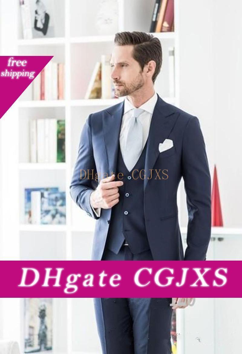 Ternos New Arrivals dois botão azul marinho Noivo Smoking pico lapela Groomsmen Best Man Wedding Prom jantar (Jacket Pants Vest empate) 1481