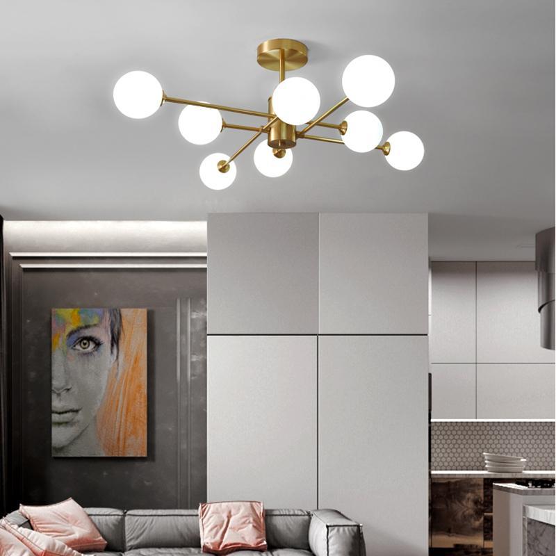 Nordic Wohnzimmer voll Kupfer kreative Schlafzimmer Kronleuchter einfacher moderne atmosphärische magische Bohne Restaurant Kronleuchter 110-240V