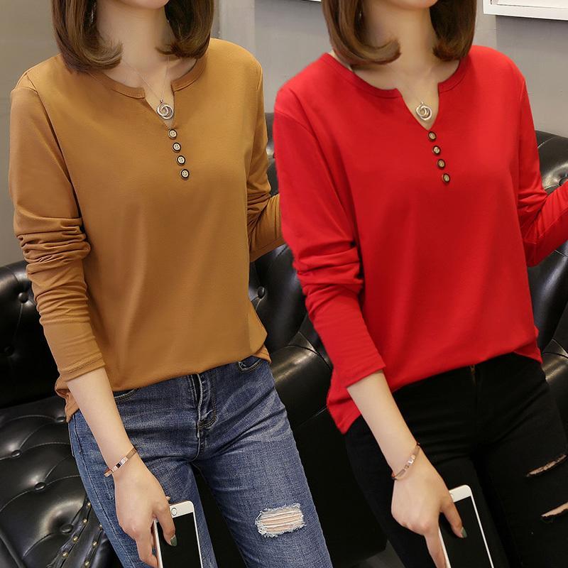 De gran tamaño 5XL de camisetas de las mujeres 2020 del otoño nuevos de manga larga con cuello en V Botón sólido Casual Tee Hipertrofia camiseta floja superior LJ200820