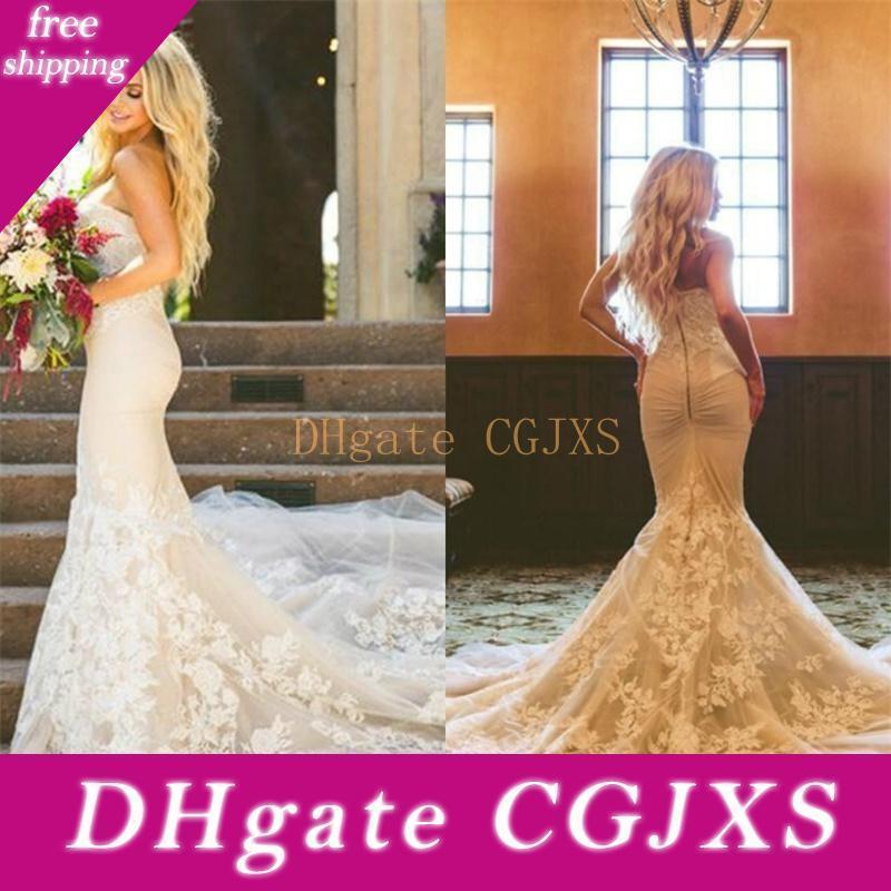 2020 New Mermaid Brautkleider Elegante Schatz-Spitze Brautkleider Plus Size Backless Fall Arabisch Vestidos Brautkleid