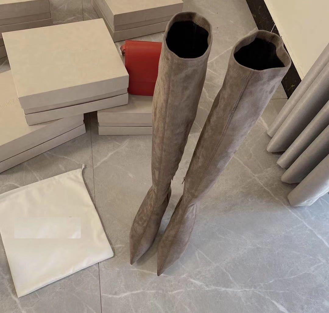 JC nuova punta stivali tacco alto con cuoio suola scamosciata altezza del tacco di 8,5 centimetri