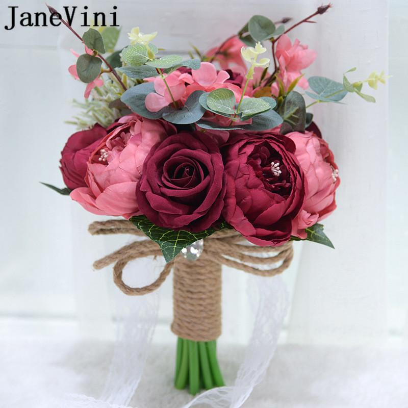 Janevini Vintage Dark Red Silk Rose Peony Artificial Flowers Bridal Bouquet 2020 Pink Purple Blue Flower Boho Bride Wedding Bouquets Florist Wedding Flowers Fresh Flower Wedding Bouquets From Everhill 58 9 Dhgate Com
