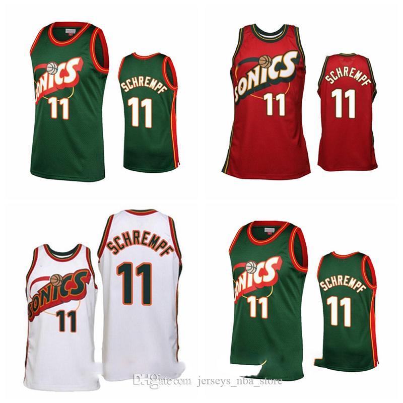 Mitchell Ness 1995-86 RetourSeattleSupersonics Basketball Jersey 11 Detlef Schrempf Retro Hardwoods Classics 1997-98 Jerseys