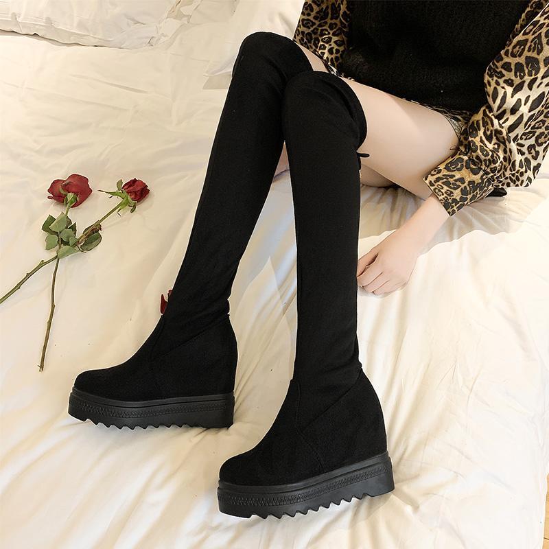 Alta Stovepipe Botines signore ragazze aumento di altezza lungo inverno botte sopra il ginocchio della coscia stivali donna Botas alti piattaforma di neve peluche