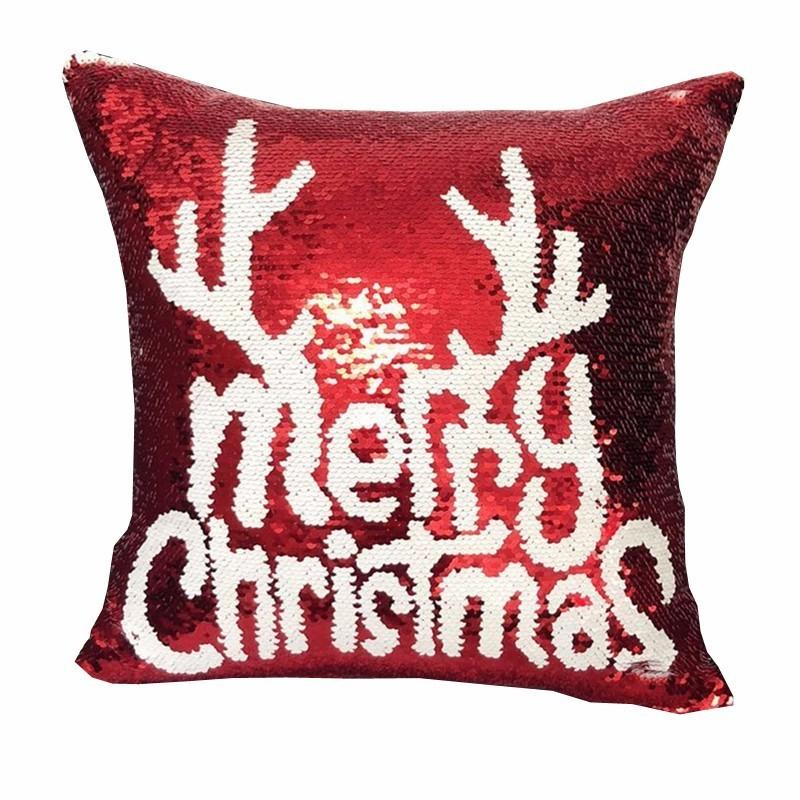 Cushion/Decorative Pillow Magical Shining Christmas Deer Snowflake Cushion Cover With Sequins Throw Case For Seat Car 40x40cm Gift