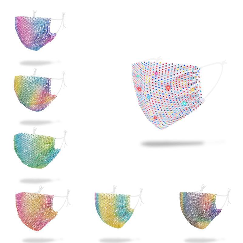 Bling di modo 3D maschere colorate Maschere del club locale notturno del partito Maschere Elbow Paillettes Viso Mount per il PM2,5