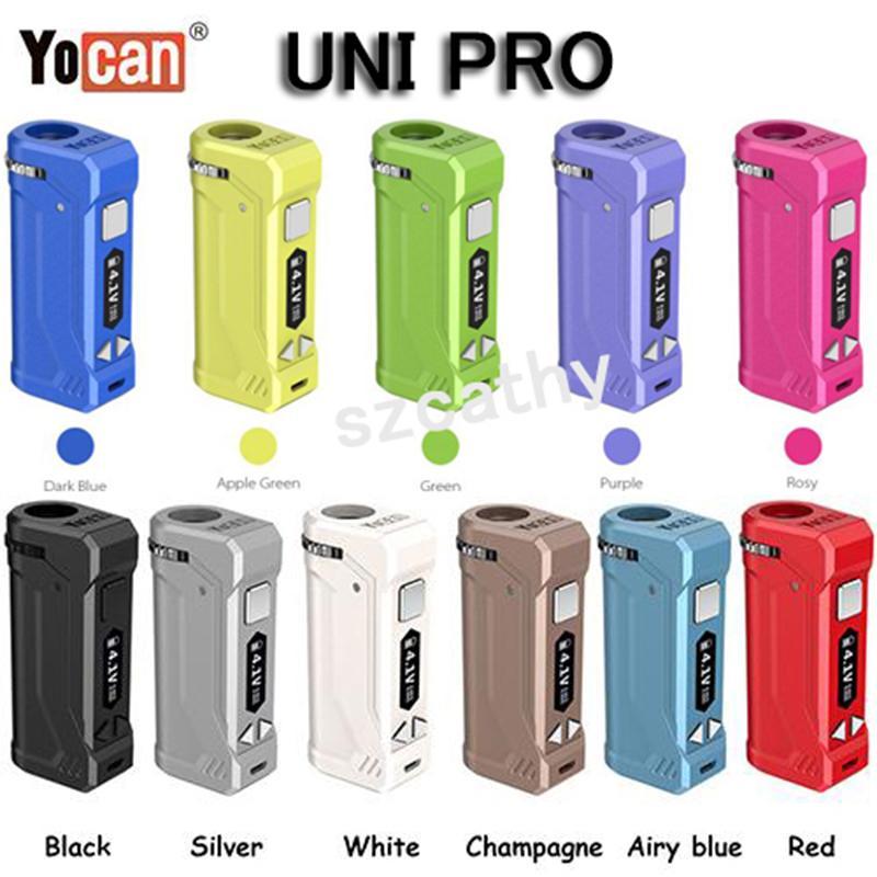 أصيلة Yocan UNI Mod E صندوق السجائر Mods 650mAh بطارية VV لجميع عرض خراطيش التسخين الجهد قابل للتعديل VAPE وزارة الدفاع 5 ألوان