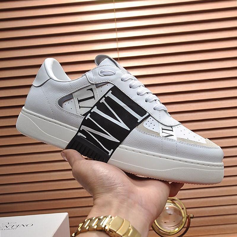 Vl7n Sneaker en cuir de veau avec des bandes Hommes Chaussures New Arrival Vintage Classique Sport Chaussures Dentelle -Jusqu'à Footwears Shaspet homme Souliers simple