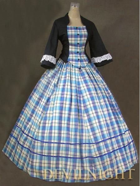 Vestido de disfraces victorianos de cuadros azul y negro Vestido antiguo Victorian Dresser