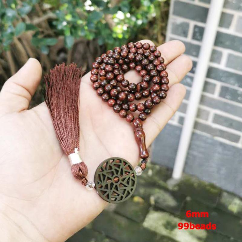 Субх тасбих Natural Red Wood человека 99 четок исламских ювелирных изделий арабских моды браслета