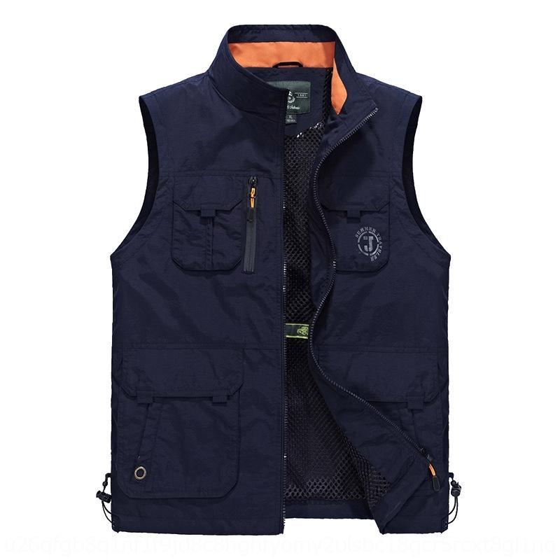 aUuAo vest Jeep multi-bag stand collar vest plus coat photography waistcoat outdoor mountaineering size