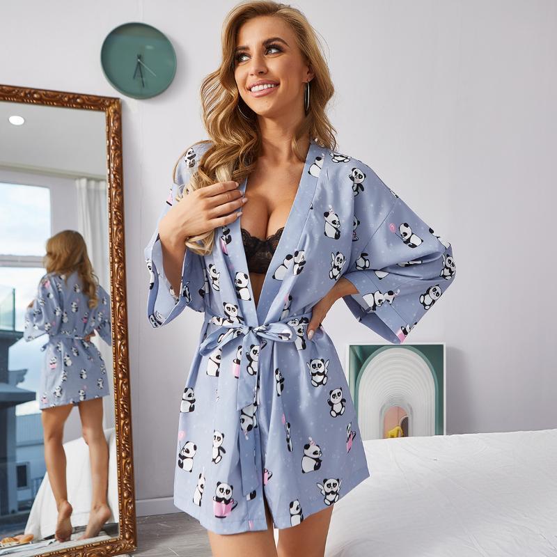 2020 ocasionales atractivas del camisón de encaje del traje de las nuevas mujeres Impreso Inicio pijamas de la correa de satén de seda con cuello en V ropa de noche del vestido de la noche ropa de dormir