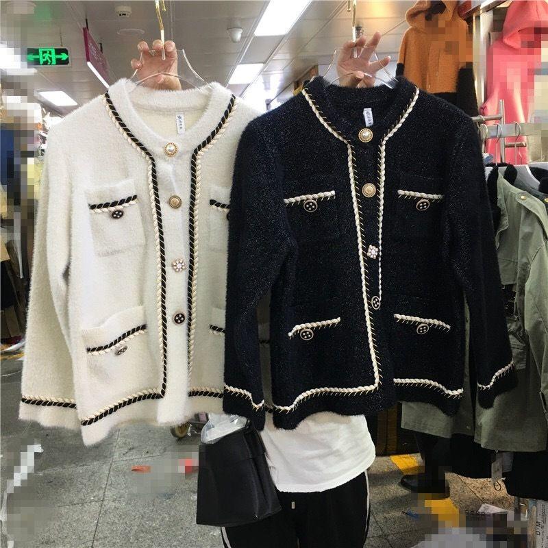 2020 New Spring coreano stile cappotto alla moda del tutto-fiammifero girocollo di velluto visone seta d'oro monopetto graziosa cappotto ispessito per le donne h