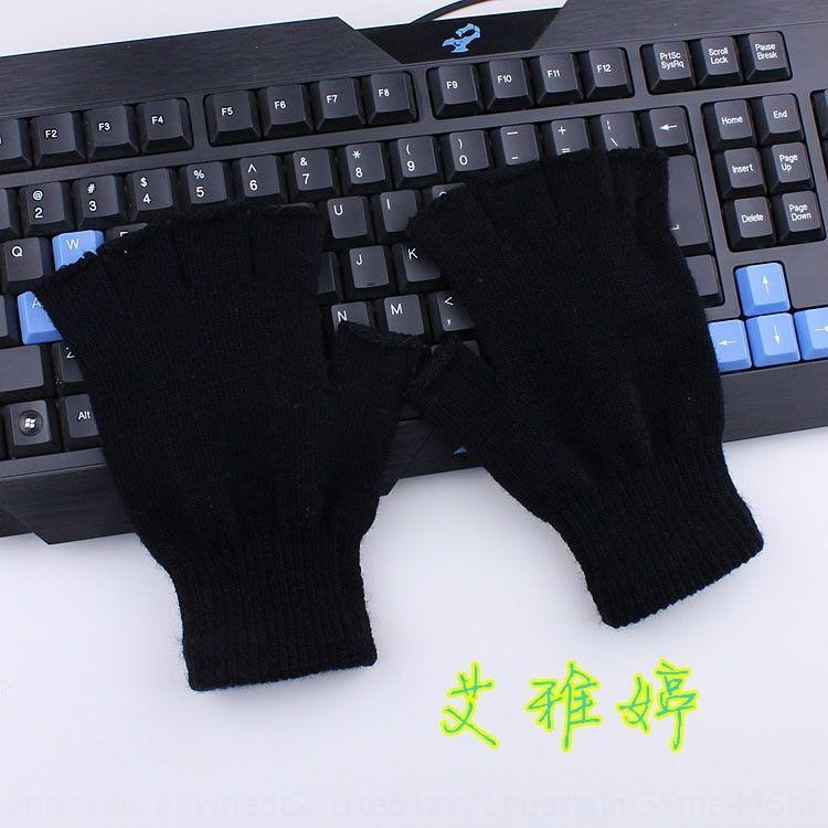 aberto metade preto quente teclado de lã de malha luvas teclado dedo dedo Outono e Inverno luvas metade unisex quentes G9cvR
