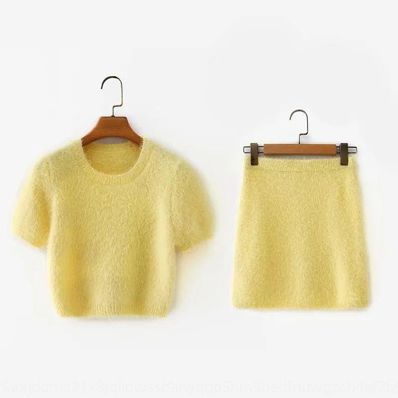 cou NCrhz lumière d'été coréenne courte de style petit rond 4mMGo manches courtes maille + hanche jupe jupe en peluche 2020 costume jaune