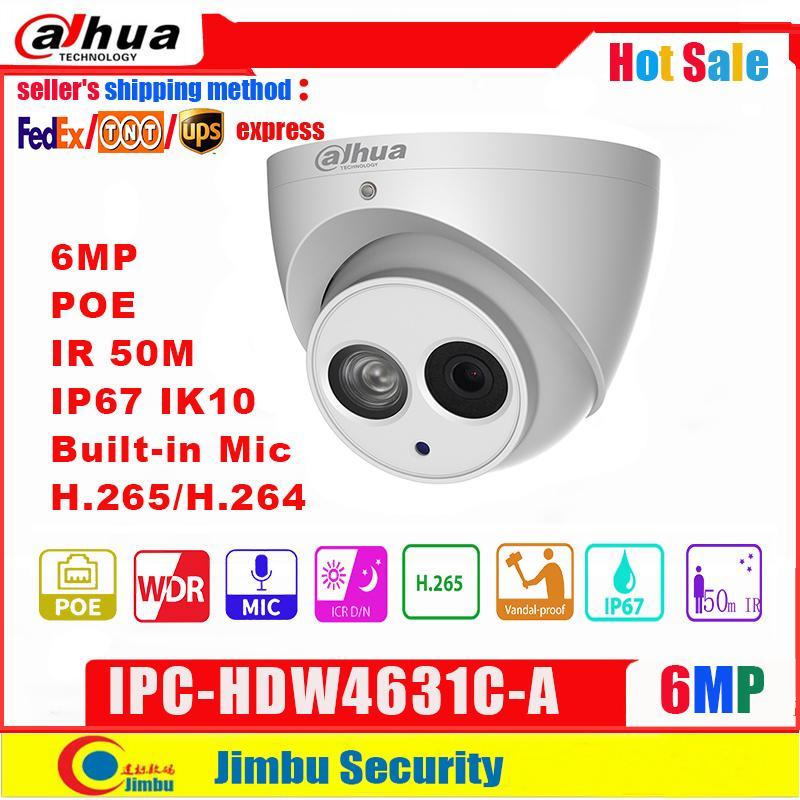 미니 카메라 Dahua IP 카메라 IPC-HDW4631C-A 6MP 돔 금속 바디 PoE 6 H.265 내장 마이크 IR50M IP67 IK10