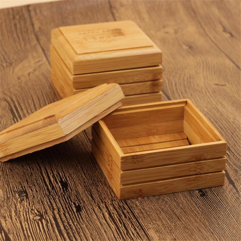 Sabão de bambu Prato Natural Bandeja Sabão sabonetes titular rack de armazenamento Placa Box Container para Bath Shower Placa Casa de Banho