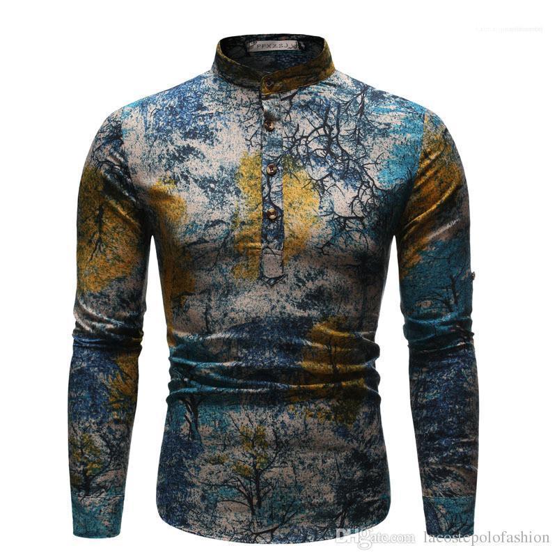 Stiller Boyama Homme Erkek Gömlek Yıldızlı Gece Mens Casual Giyim Yağı yazdır Etnik Stiller Tops