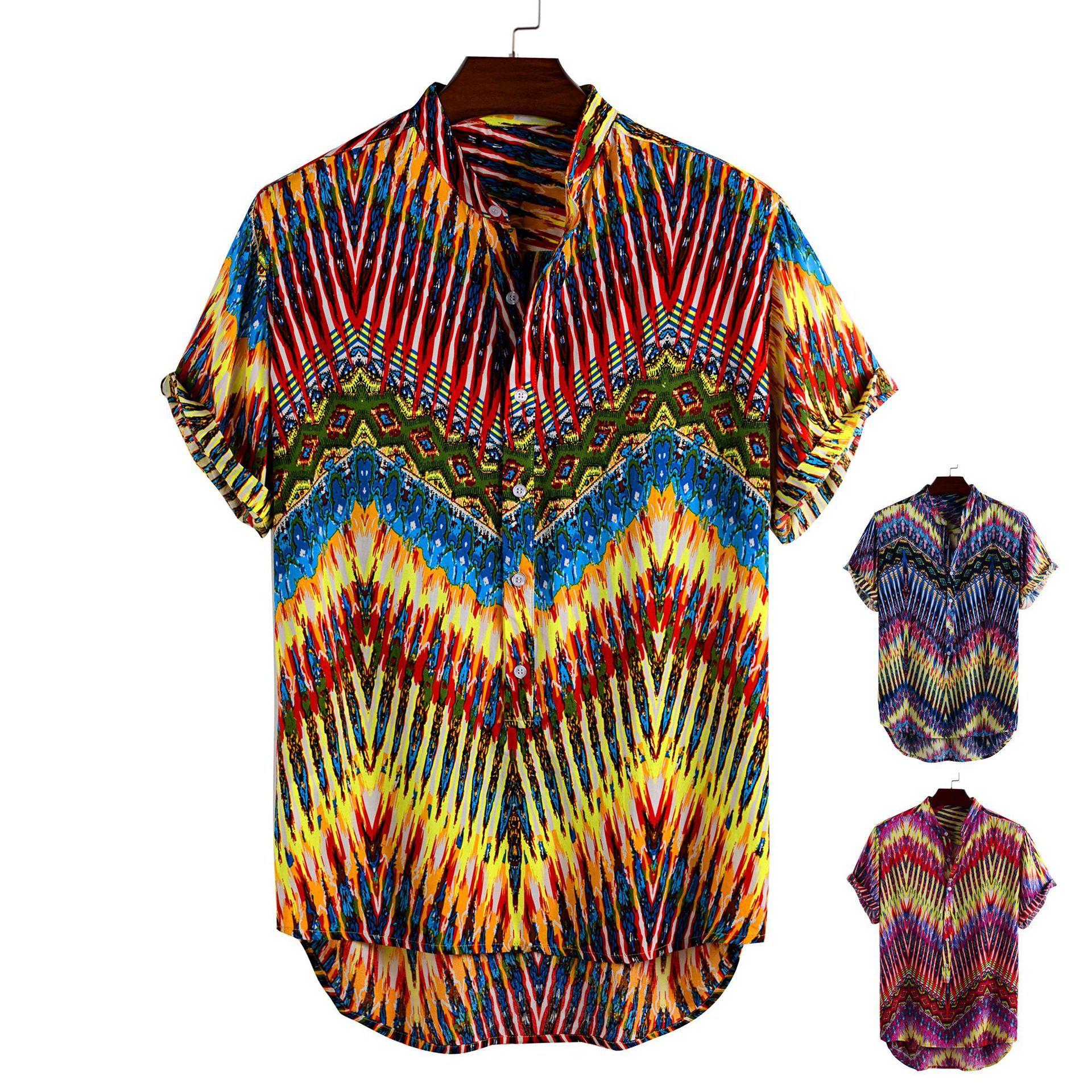 E-Baihui 2020 Europa und Amerika Digital gedruckte Männer Shirt Männer Reverskragen Hemd mit kurzen Ärmeln beiläufige dünne Top E79577