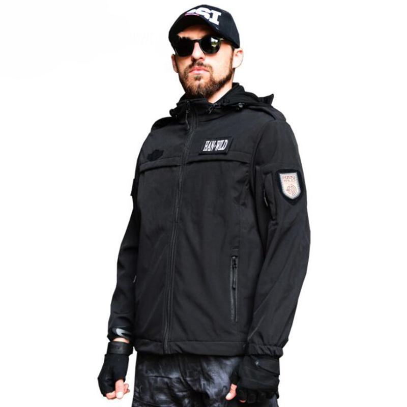 Wandern Camping Hunting Jacket Men Herbst-Winter-Wasserdichtes Tactical Jacke Mütze Windjacke Mantel Outdoor-Multi-Tasche