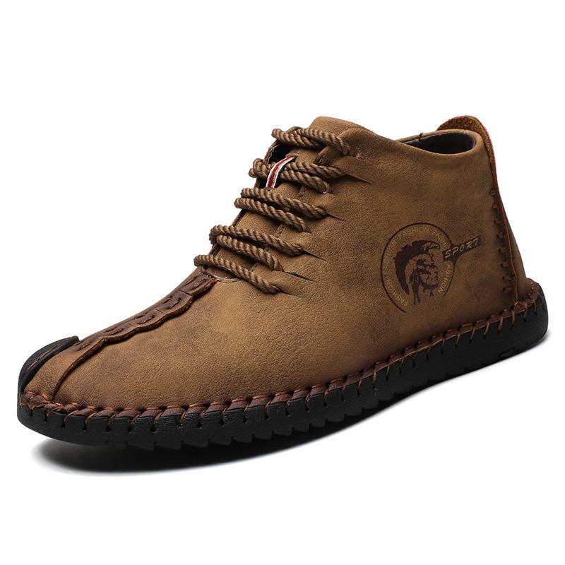 Invierno del cuero partido de los hombres de moda las botas del tobillo de la nieve botas de los hombres calientes de felpa zapatos masculinos de alta calidad con cordones de los zapatos HX-113