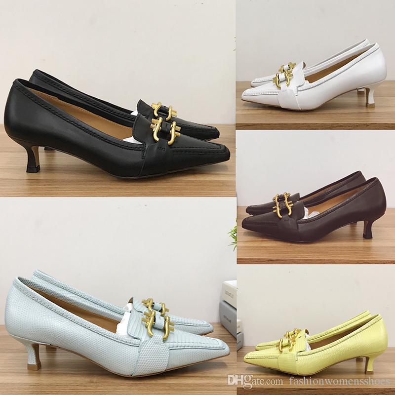 2020 Nova Moda Top Womens Womens High Salts Vestido Sapatos com Acessórios De Fivela De Cavalo De Ouro Austrália Soft Bezerro Pele Nupcial Sapatos De Casamento