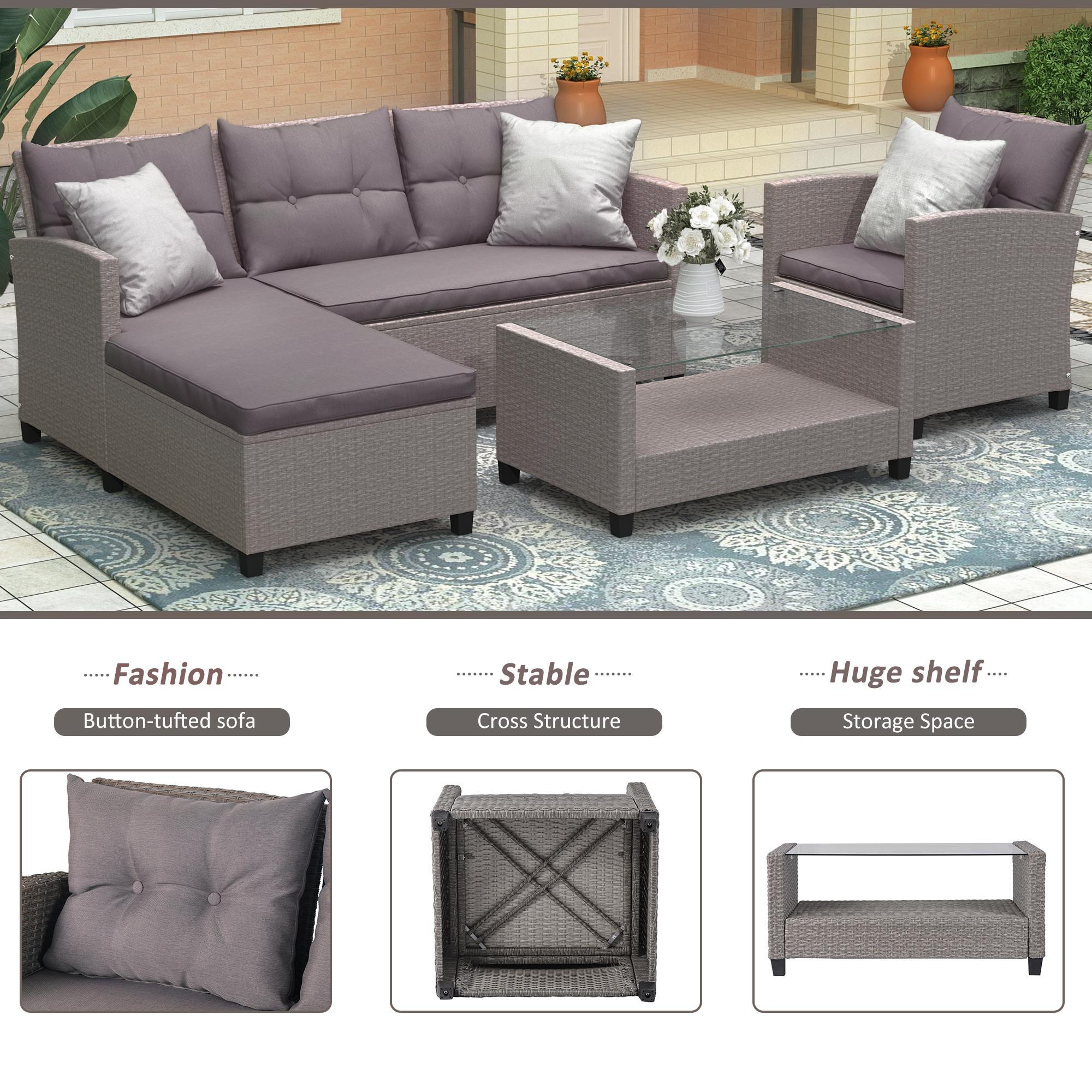 U_STYLE Salon meubles Ensembles 4 pièces Ensemble de conversation en osier Ratten Canapé avec siège coussins gris WY000066EAA