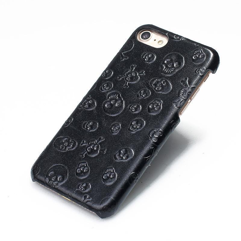 Solque real caja del cuero genuino para Iphone X 10 celular de cuero de lujo del teléfono Ultra Slim 3D cráneo cubierta duro Carcasas Para Iphonex linda