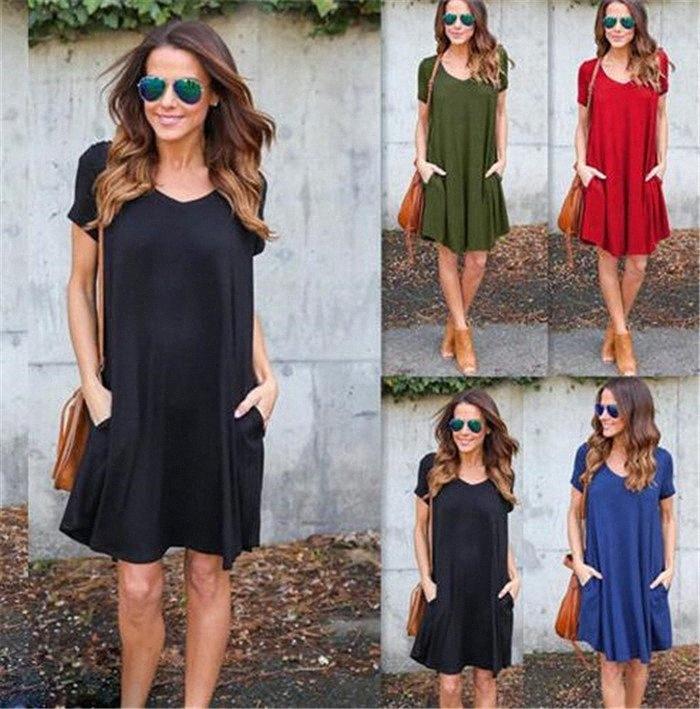 Günlük Cepler Gevşek Boho Elbise Moda Kadın V Yaka Kısa Kollu Yaz Sonbahar Rahat Mini Robe M 174 JQ9J #