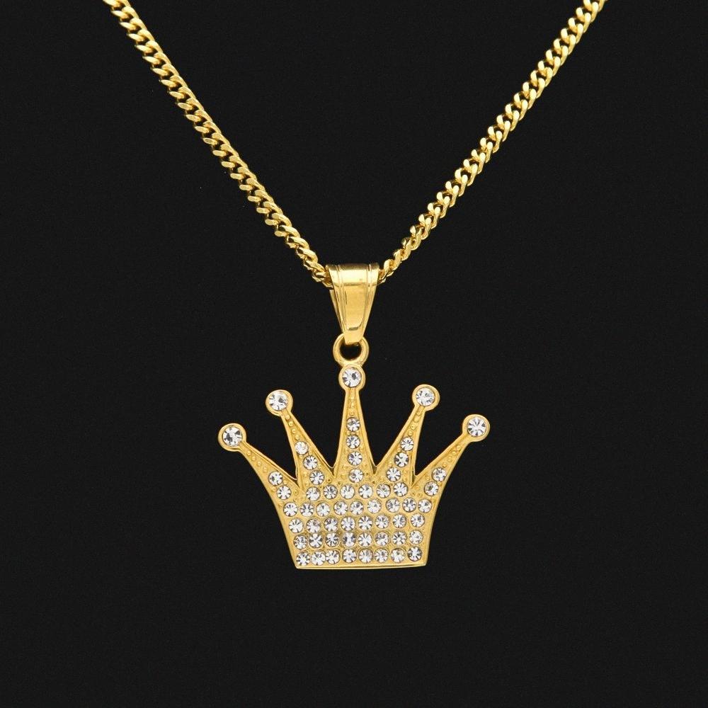Acero inoxidable Color del encanto del oro exquisito de la corona imperial diamantes de imitación colgante con libre 24 pulgadas cadena cubana de calidad superior Collar KwBy #