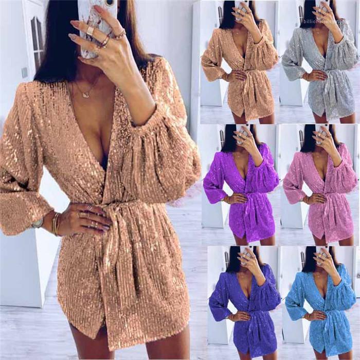 Neck Kleider Art und Weise lange Hülsen-Verband reizvolle unregelmäßige beiläufige Kleid Famale Frühlings-Sommer-Kleidung-Frauen Pailletten V