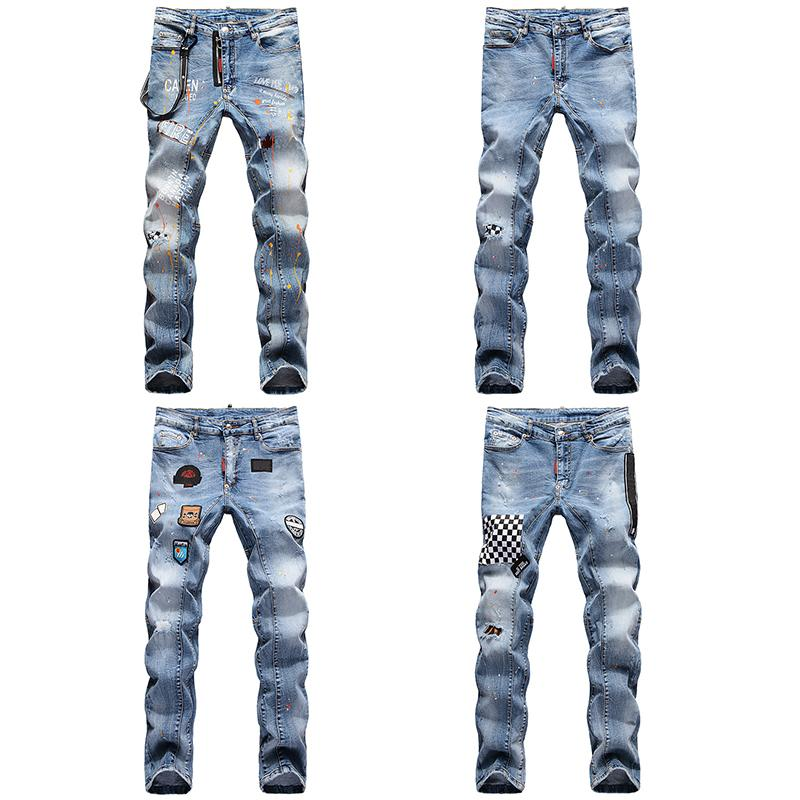 High Quality Mens Designer beiläufige gerade Rock Revival D2 Jeans Retro dünne dünne Jeans Mode Luxus Ripped Männer Hip Hop-Denim-Hosen
