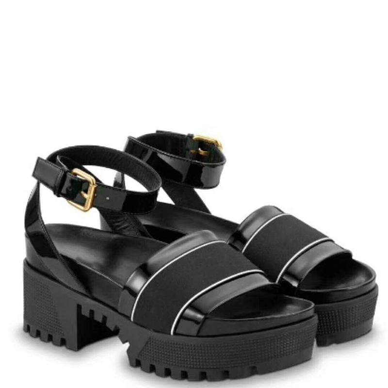 Top Leather Laureate sandali della piattaforma donne del progettista scarpe lustrate vitello marrone brevetto scarpe di tela spesso casuale suole tacchi alti con la scatola