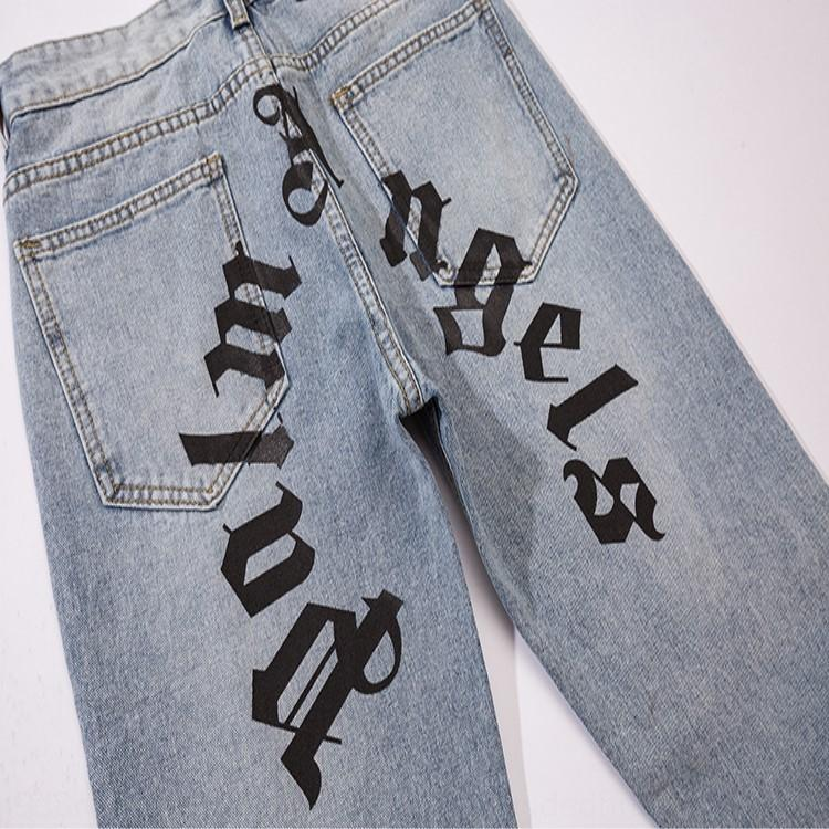 Melek pantolon rahat ve kot erkek ve kadın rahat pantolon pantolon baskı obKdi Sonbahar kış Yeni hurma mavi palmiye kot mektup