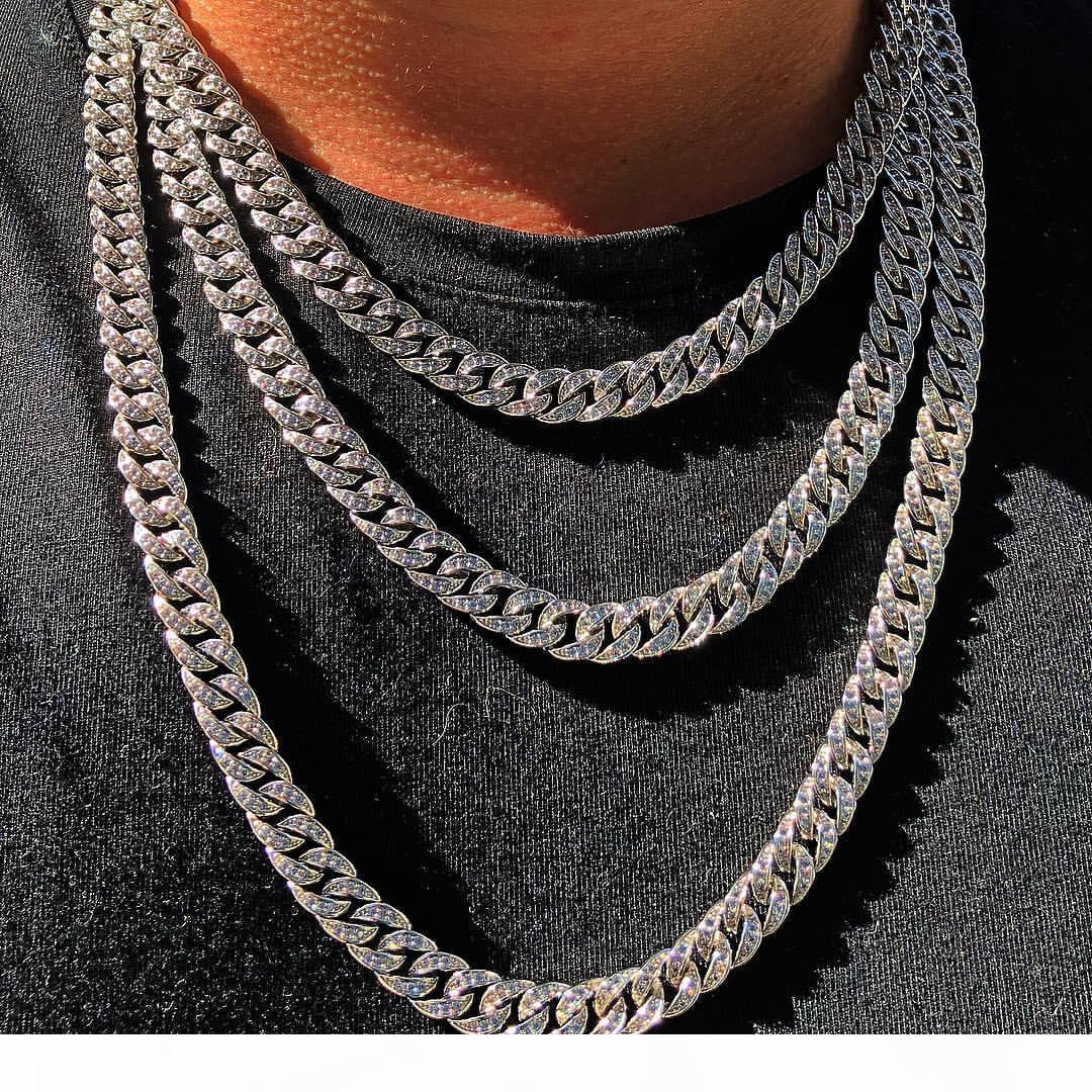 Hip Hop Vendidos Vintage Fashion Jóias de gelo de aço inoxidável de alta qualidade para fora miami cadeia cubano completa CZ colar para Mulheres Homens