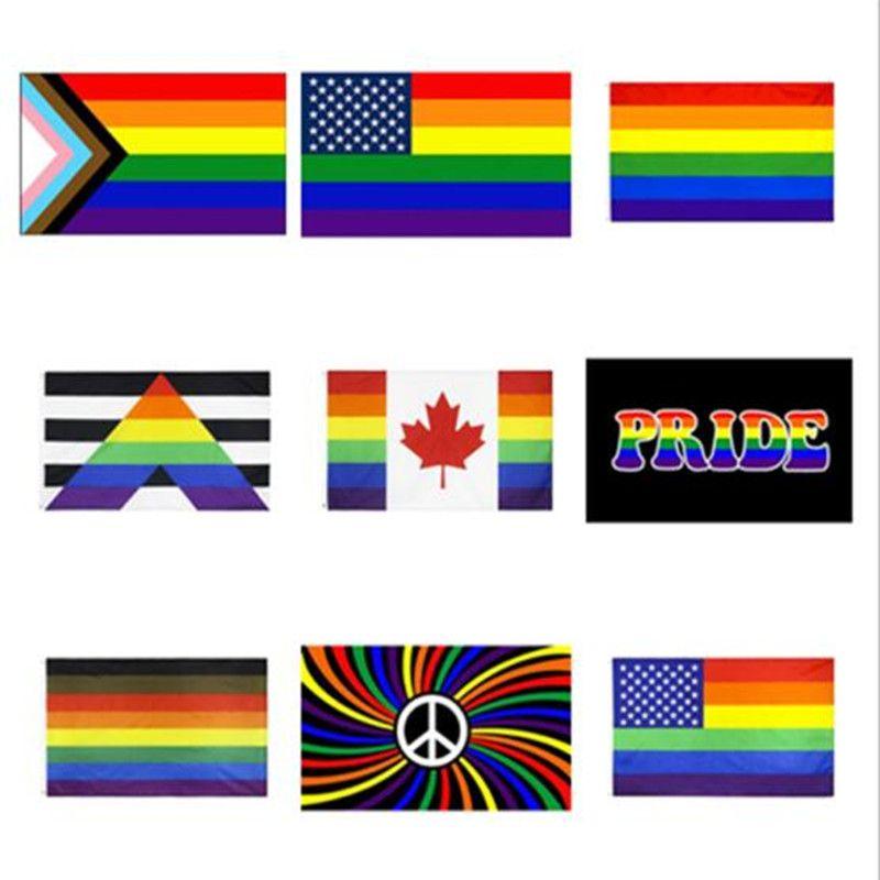EU Stock nova fábrica direta 3x5fts atacado 90x150cm Philadelphia phily reto do aliado progredir Orgulho Gay LGBT Arco-íris da bandeira DHL Shipping