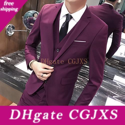 Magro único terno ternos Burgundy Man Work Notch lapela casamento Prom Dress Blazer partido Mens Noivo Smoking (Calças Jacket Vest Tie) J690