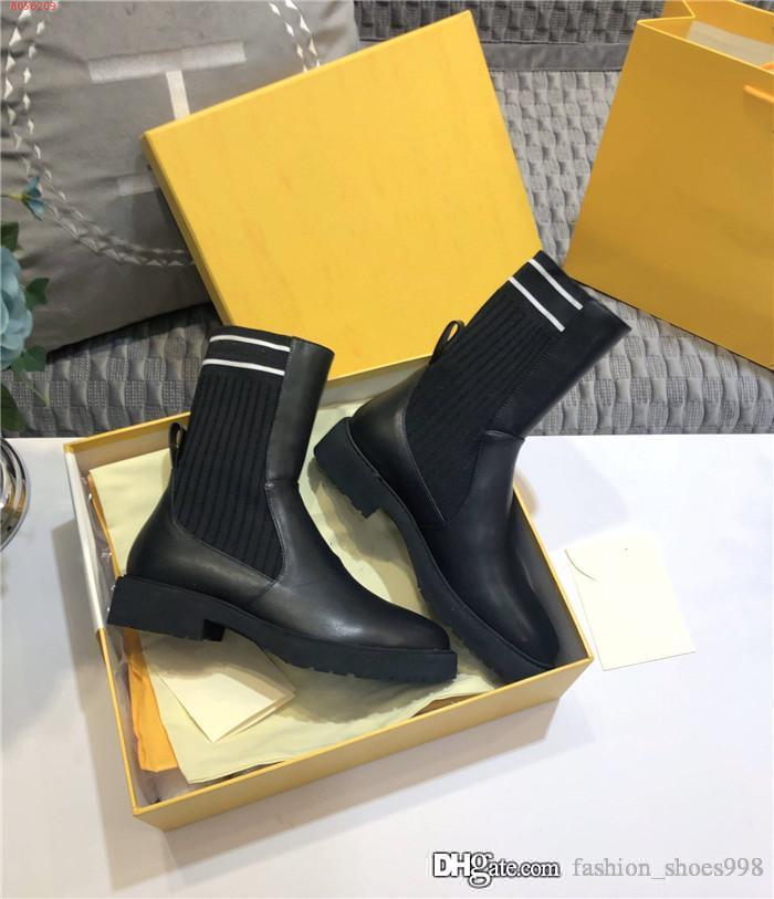 Femmes Sock comme High Top Bottes moitié noir Oblique Jacquard et lisse Calfskin bottillons botte talon bas avec boîte d'origine