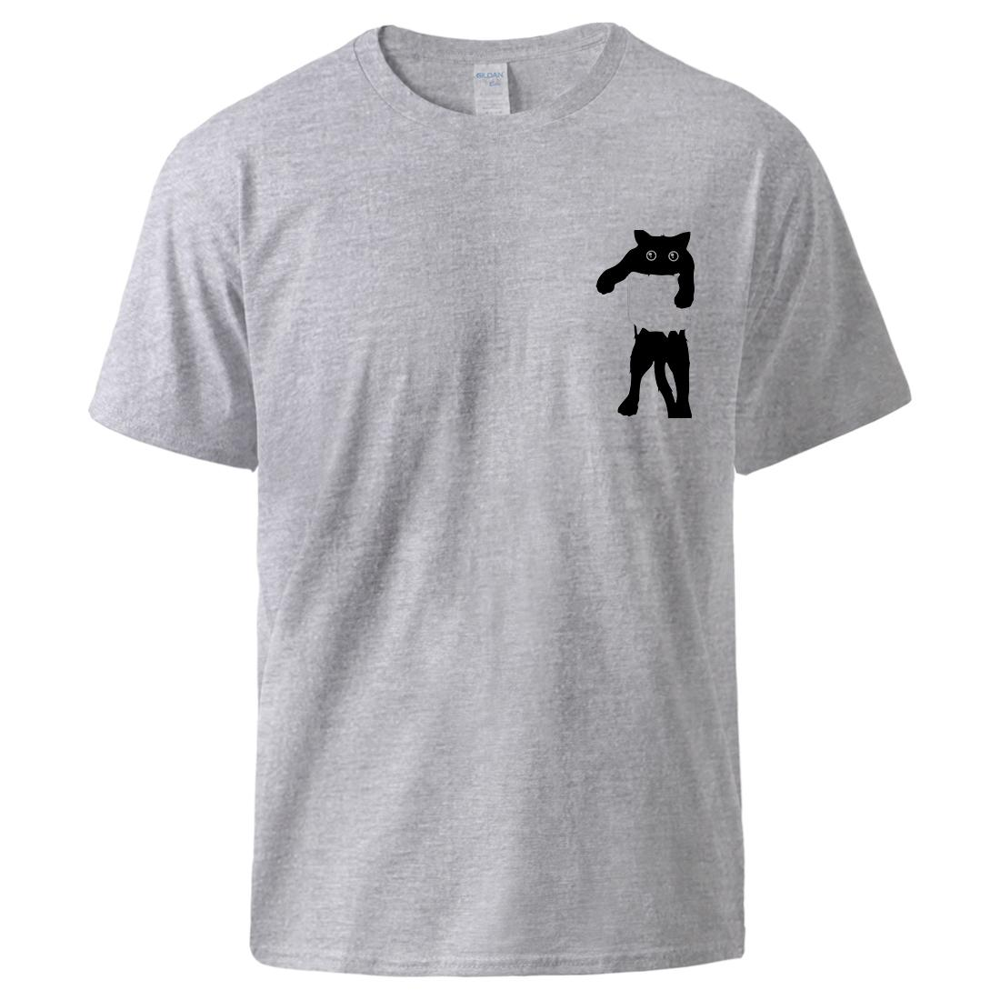 Мультфильм Кот в карманный дизайн Top Графика животных печати футболки лето с коротким рукавом Повседневная Топ пуловер Мужской Simple Casual Tshirt