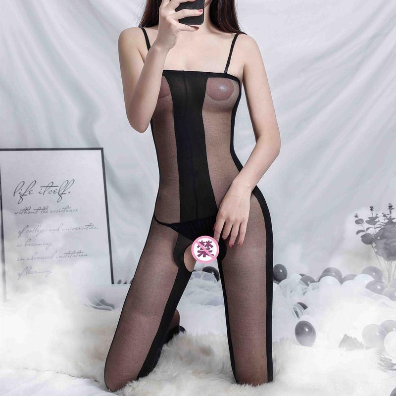 Taub4 Longa noite sexy Sling meias underwear sexy estilingue jacquard aberta Siamese meias noite turva 007