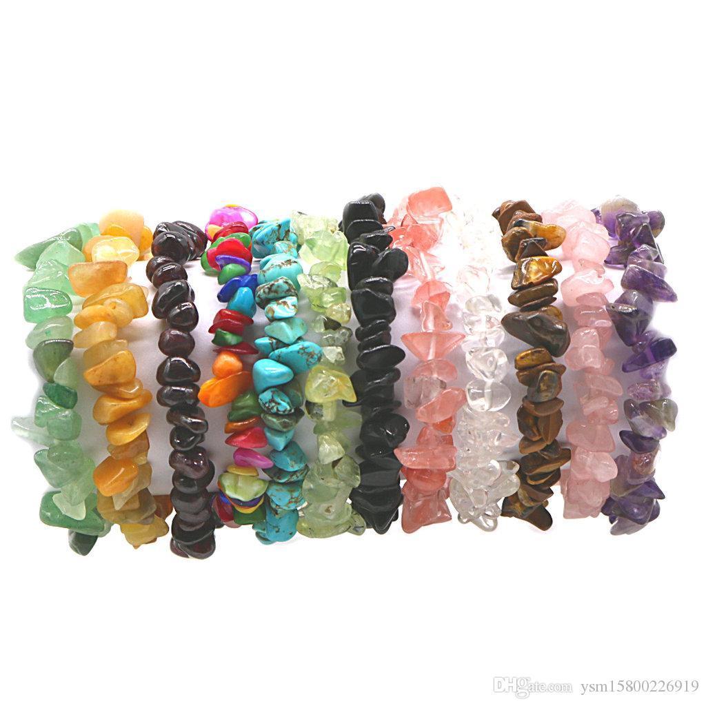 6PCS Außenhandel neue Art und Weise einfachen Naturstein Kristall Gravel Armband Unregelmäßige Gravel-elastische Armband Damen Schmuck