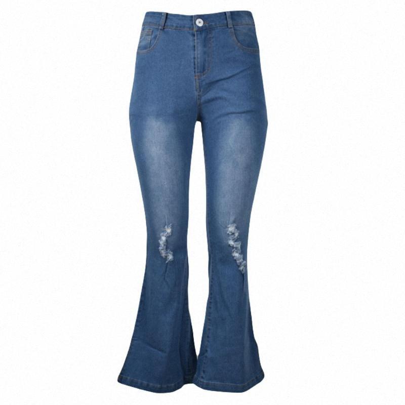 2020 2020 Yüksek Bel Kadın Kadınlar Büyük Boyutları Pantolon Bell Alt Casual Denim Şişman Anne Flare Jeans Skinny Kadın OYvQ # için Ripped Jeans
