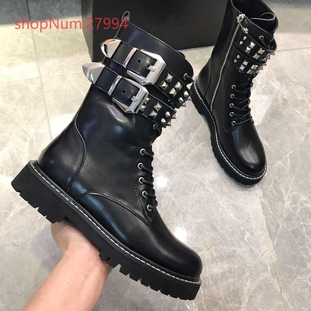 neuesten Luxus-Schuhfrauen klassische echter Leder Martin Stiefel hohe Qualität Reißverschluss Mode Stiefeletten Plattformfrauen Hälfte Stiefel schwarz