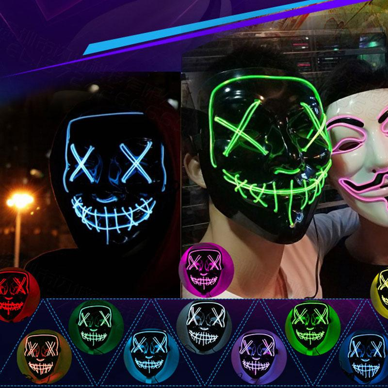 Быстрая доставка Хэллоуина светящихся масок черного V-образного кровь ужас LED маска призрак лицо EL флуоресцентную атмосфера реквизит F0202