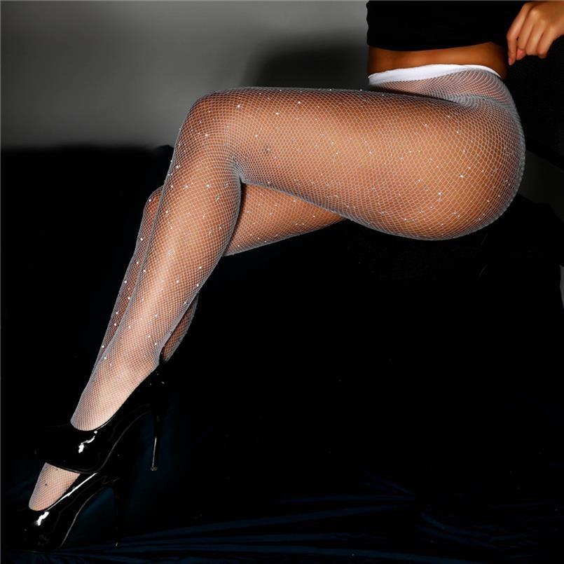 New High Street Style Women Workout Rhinestone Leggings Long Pants Trousers Mesh Black Leggings Women Polyester Fitness Leggins