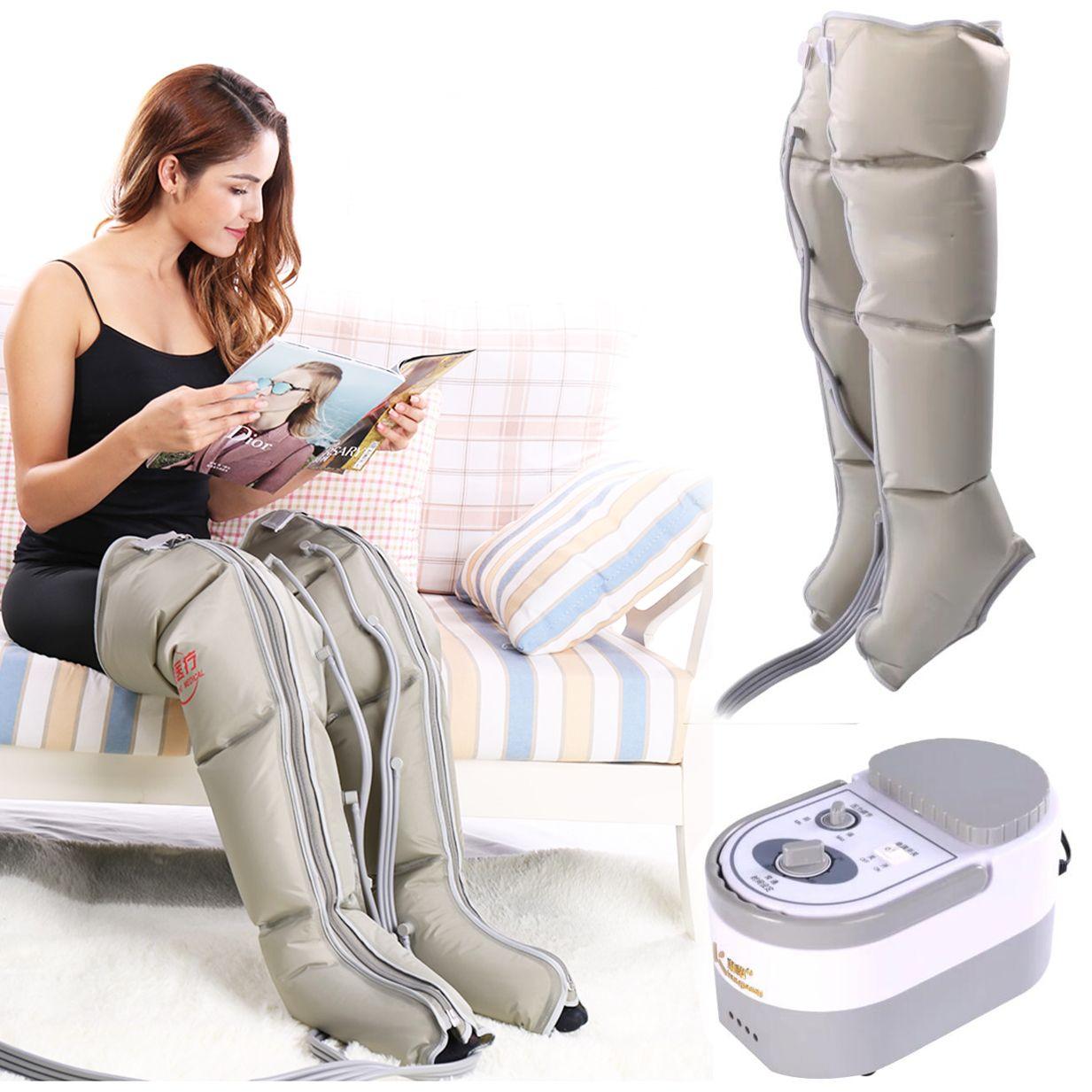 Compresión de aire eléctrico Masajeador de piernas Pierna Pie Wraps tobillos Becerro máquina del masaje promueve la circulación de sangre Aliviar Dolor Fatiga V191216