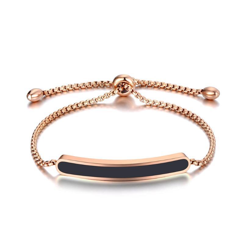 Titan Edelstahl Schwarz / Weiß Glaze Kettenverbindungs-Armbänder für Frauen Rose Gold mit veränderbarer Länge Armband B19070
