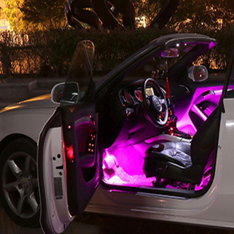 Automobile intérieur lampe à pied ambiante réaménagée LED unique lampe de contrôle de son habillage intérieur voiture USB